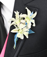 BLUE HEAVEN Prom Boutonniere in North Charleston, SC | MCGRATHS IVY LEAGUE FLORIST