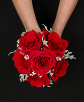 ROMANTIC RED ROSE Handheld Bouquet in South Lyon, MI | PAT'S FIELD OF FLOWERS