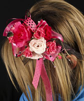 HOT PINK & BLACK Prom Hairpiece in Gastonia, NC | POOLE'S FLORIST