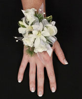 SPARKLY WHITE Prom Corsage in Red Wing, MN | HALLSTROM'S FLORIST & GREENHOUSES
