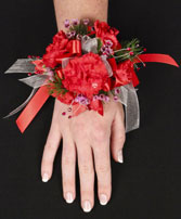 CRIMSON CARNATION Prom Corsage in Red Wing, MN | HALLSTROM'S FLORIST & GREENHOUSES