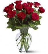 Dozen Red Roses in Vase on Sale Special!