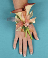 ELEGANT APRICOT CALLA Prom Corsage in Polson, MT | DAWN'S FLOWER DESIGNS