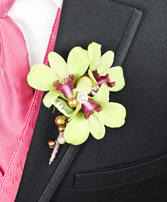 GLAMOROUS GREEN Prom Boutonniere in Tunica, MS | TUNICA FLORIST LLC