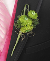 GO GREEN Prom Boutonniere in Lilburn, GA | OLD TOWN FLOWERS & GIFTS
