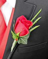 ROMANTIC RED ROSE Prom Boutonniere in Peterstown, WV | HEARTS & FLOWERS