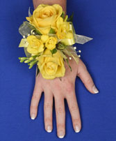 GLOWING YELLOW Prom Corsage in Bath, NY | VAN SCOTER FLORISTS