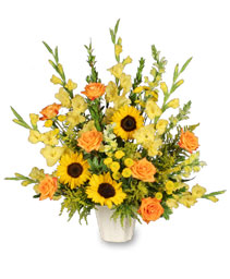 GOLDEN GOODBYE Funeral Arrangement in Bath, NY | VAN SCOTER FLORISTS