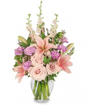 PINK PARADISE Flower Arrangement in Burlington, CT | THE HARWINTON FLORIST