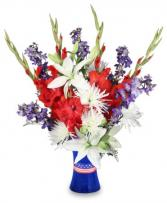 RED WHITE & TRUE BLUE Floral Arrangement in Oxford, NC | ASHLEY JORDAN'S FLOWERS & GIFTS