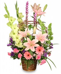 BASKET OF MEMORIES Floral Arrangement Best Seller in Manchester, NH | THE MANCHESTER FLOWER STUDIO