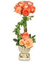 PEACH ROSE TOPIARY Arrangement in Calgary, AB | PANDA FLOWERS (CROWFOOT)