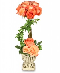 PEACH ROSE TOPIARY Arrangement in Mabel, MN | MABEL FLOWERS & GIFTS