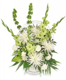 EVERLASTING FAITH Funeral Basket in Osceola, NE | THE FLOWER COTTAGE, LLC