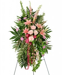 PEACEFUL PINK Sympathy Spray in Greenville, OH | HELEN'S FLOWERS & GIFTS