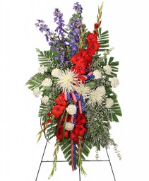 SALUTE TO A SERVICE MEMBER Standing Spray in Redlands, CA | REDLAND'S BOUQUET FLORISTS & MORE