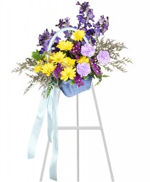 BLESSED BLUE SPRAY Funeral Arrangement in Pearland, TX | A SYMPHONY OF FLOWERS