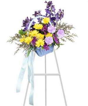 Blessed Blue Spray Funeral Arrangement in Deer Park, TX | FLOWER COTTAGE OF DEER PARK
