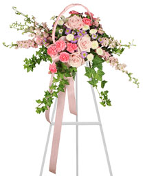DELICATE PINK SPRAY Funeral Arrangement in Cranston, RI | ARROW FLORIST/PARK AVE. GREENHOUSES
