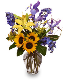 1ST-CLASS FRIENDSHIP Flowers of Yellow & Blue
