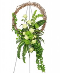 FRESH GREEN INSPIRATIONS Funeral Wreath in Greenville, OH | HELEN'S FLOWERS & GIFTS