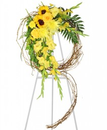 SUNSHINE OF LIFE Sympathy Wreath in Santa Barbara, CA | ALPHA FLORAL