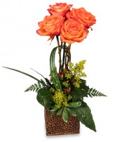 TOPIARY OF ORANGE ROSES Arrangement