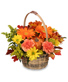 Rustic Orange and Cranberry Flower Arrangement