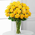 24 Sunny Yellow Roses In Vase