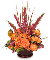HOMECOMING HARVEST Arrangement in Opelika, AL | VIRGINIA'S FLOWERS & GOURMET GIFTS UNLIMITED