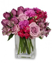 PRECIOUS PURPLES Arrangement Best Seller in New York, NY | TOWN & COUNTRY FLORIST/ 1HOURFLOWERS.COM