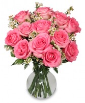 CHANTILLY PINK ROSES Arrangement in Michigan City, IN | WRIGHT'S FLOWERS AND GIFTS INC.