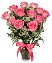 PRIMETIME PINK ROSES Arrangement in New York, NY | TOWN & COUNTRY FLORIST/ 1HOURFLOWERS.COM
