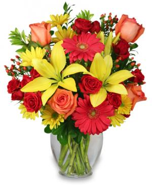 Bring On The Happy Vase of Flowers in Mckees Rocks, PA | MUETZEL'S FLORIST & GIFT