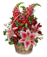 100% LOVABLE Basket of Flowers in Tunica, MS | TUNICA FLORIST LLC