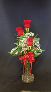 3 Red Roses in a bud vase - Call for color options Arrangement