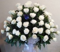 4 Dozen Roses Floor Basket Funeral Arrangement