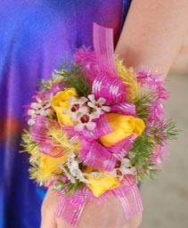 Yellow & Pink Prom Corsage Prom Flowers