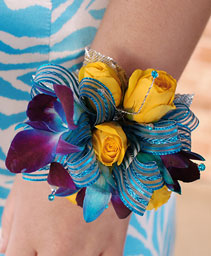 Blue & Yellow Prom Corsage Prom Flowers
