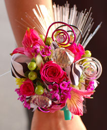Mixed Flowers & Zebra Corsage Prom Flowers
