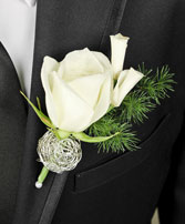 SPARKLY WHITE Prom Boutonniere in Cranston, RI | ARROW FLORIST/PARK AVE. GREENHOUSES