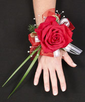 ROMANTIC RED ROSE Prom Corsage in Bath, NY | VAN SCOTER FLORISTS