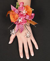 HOT PINK & ORANGE Prom Corsage in Red Wing, MN | HALLSTROM'S FLORIST & GREENHOUSES