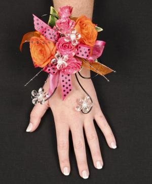 HOT PINK & ORANGE Prom Corsage in Richland, WA | ARLENE'S FLOWERS AND GIFTS