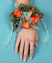 FLIRTATIOUS FEATHERS Prom Corsage in West Hills, CA | RAMBLING ROSE FLORIST