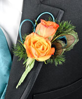 FLIRTATIOUS FEATHERS Prom Boutonniere in Saint Albert, AB | PANDA FLOWERS (SAINT ALBERT) /FLOWER DESIGN BY TAM