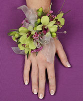 GLAMOROUS GREEN Prom Corsage in Roanoke, VA | BASKETS & BOUQUETS FLORIST