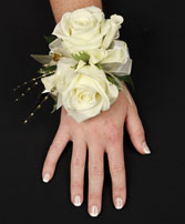 WHITE ROSE GLITTER Prom Corsage in Bath, NY | VAN SCOTER FLORISTS