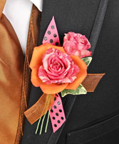 HOT PINK & ORANGE Prom Boutonniere in Muskego, WI | POTS AND PETALS FLORIST INC.