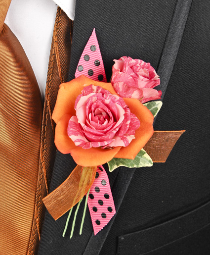 HOT PINK & ORANGE Prom Boutonniere